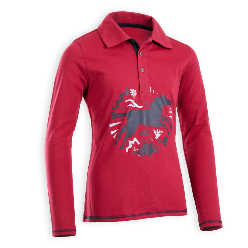 Girls' Horse Riding Long-Sleeved Polo 100 - Pink