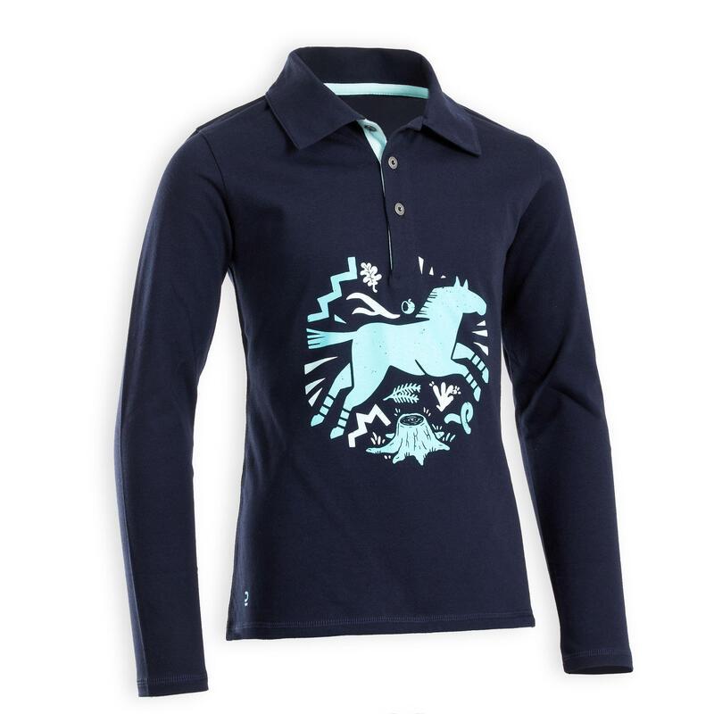 Paardrijpolo met lange mouwen voor meisjes 100 blauw en zwart
