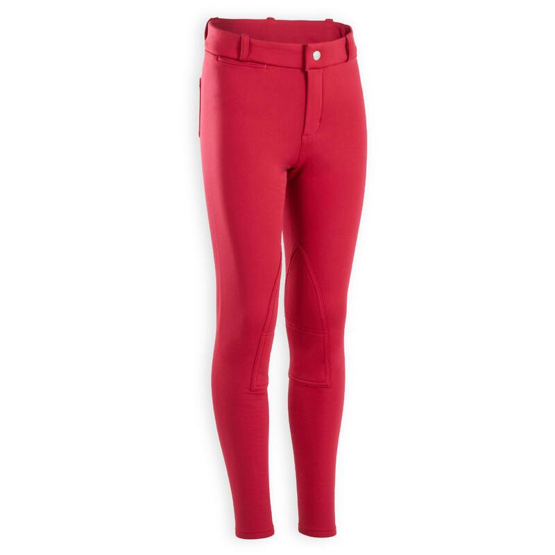 Pantalon équitation enfant rose chaud 100 WARM