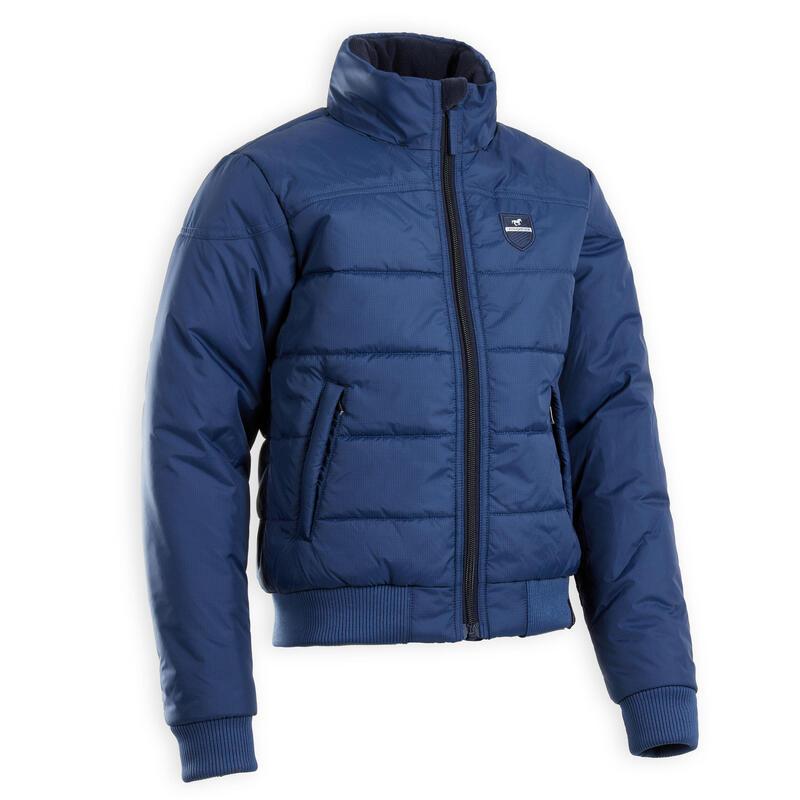 Blouson équitation enfant chaud bleu 500 WARM