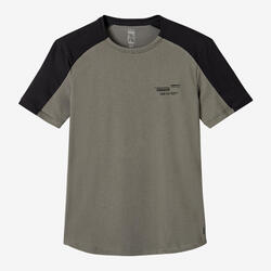 T-Shirt Coton Extensible Fitness Tombé arrondi Beige Kaki