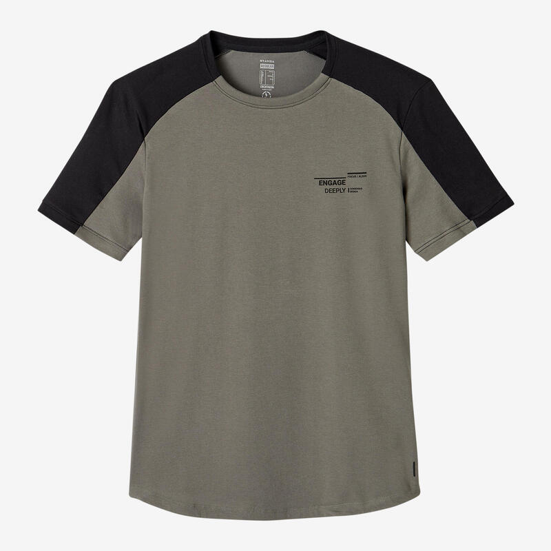 Fitness Stretch Cotton T-Shirt with Rounded Hem - Beige/Khaki