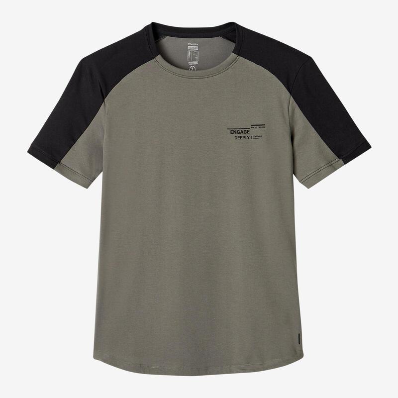 Stretch T-shirt voor fitness katoen ronde zoom beige kaki