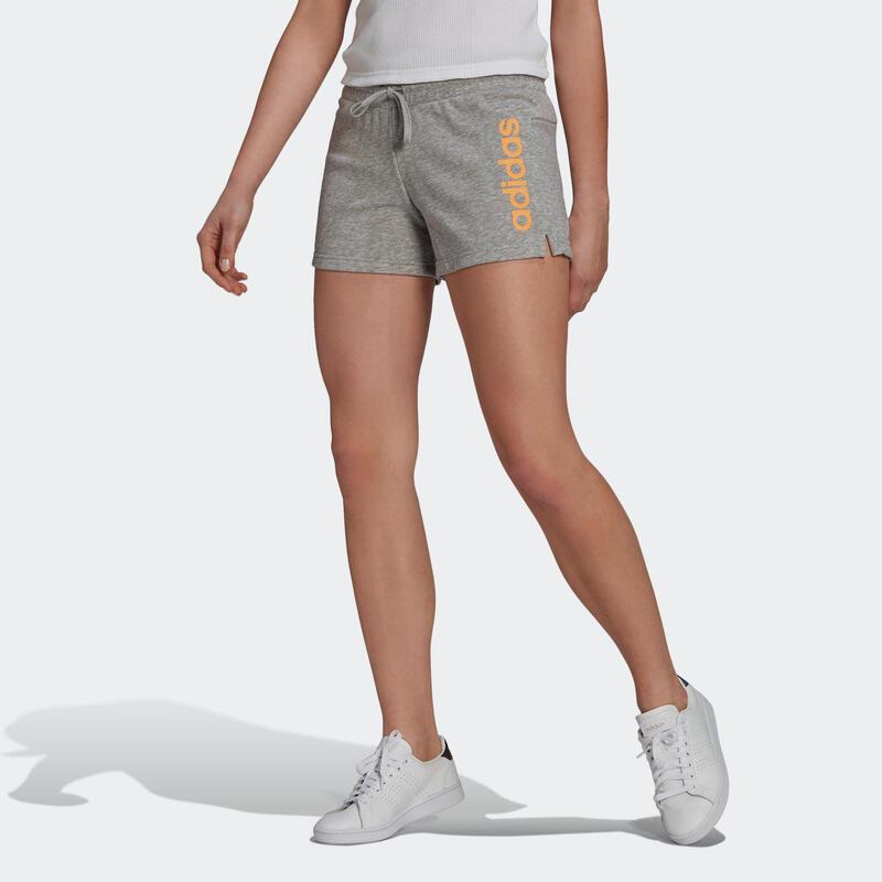 Short Adidas Fitness Linear Gris Chiné / Orange