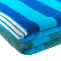Toalha Praia 140x190 Azul Riscas Azuis