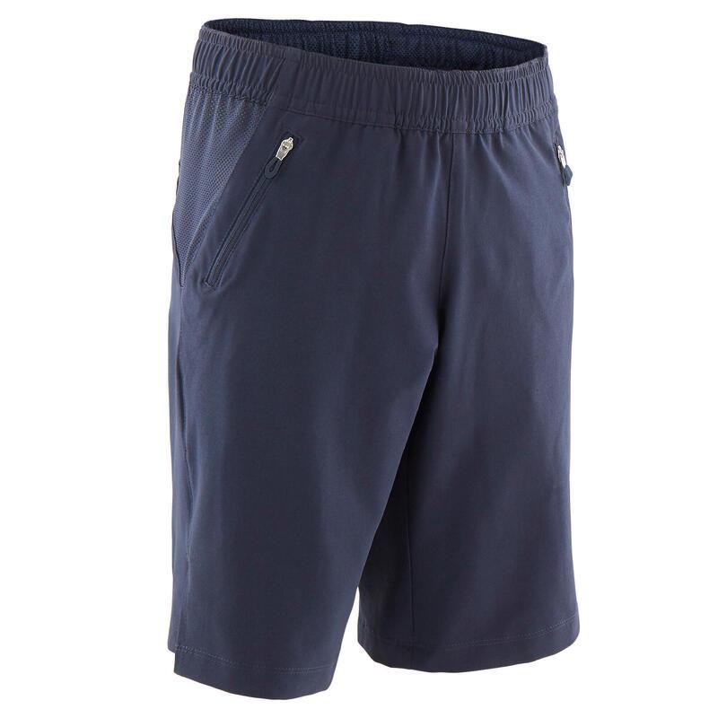 Lichte en stevige gymshort voor jongens marineblauw
