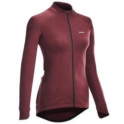 Merino fietsshirt voor dames RC900 lange mouwen bordeaux