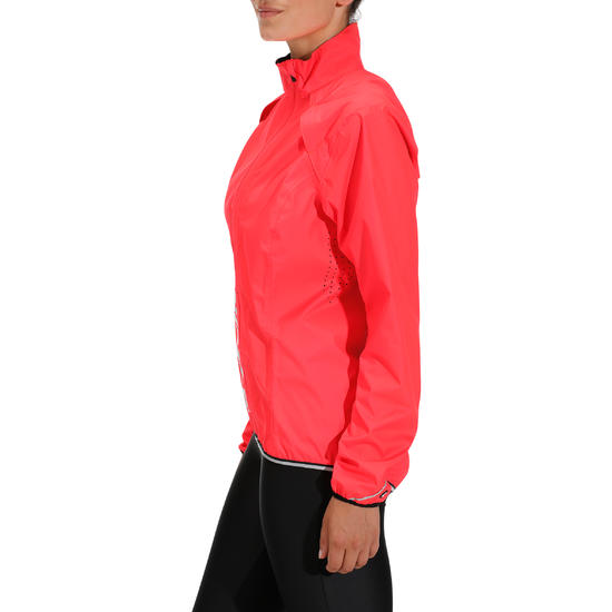 500 Women&39s Cycling Rain Jacket - Fluorescent Pink - Women&39s