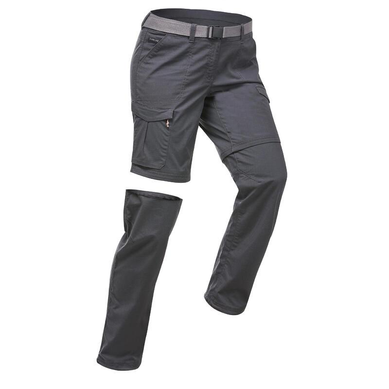 Pantalon modulable de trek voyage - TRAVEL 100 gris femme