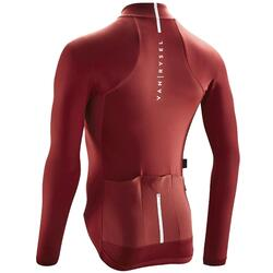 Road Cycling Long-Sleeved Jersey Racer - Burgundy