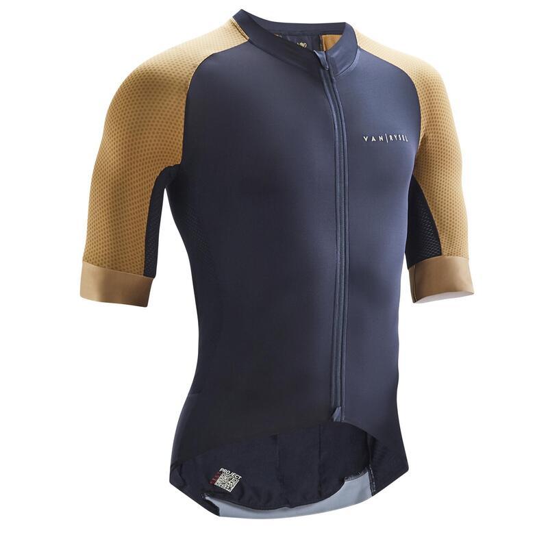 Fietsshirt Racer marineblauw/antiek brons