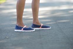 Damesballerina's Soft 520 voor sportief wandelen marineblauw/koraal - 201571