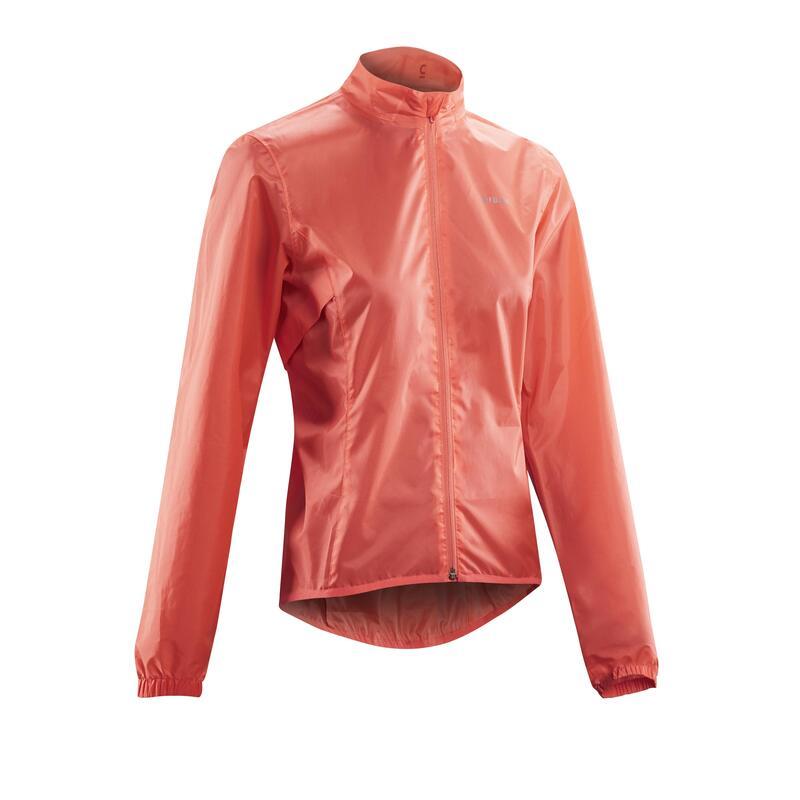 Women's Cycling Rainproof Jacket 100 - Coral