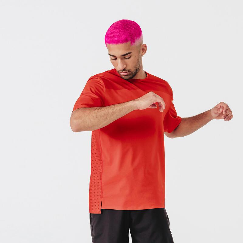 T-shirt running respirant et ventilé homme - Dry+ Breath rouge brique