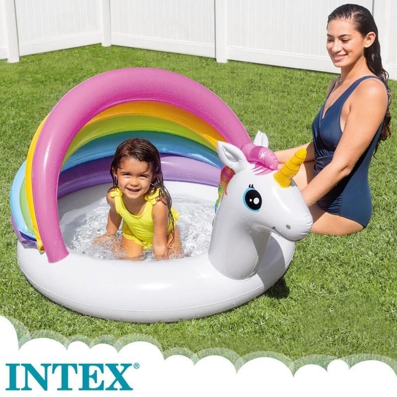 PISCINA HINCHABLE DESMONTABLE BEBE INFANTIL INTEX UNICORNIO 127x102x80cm