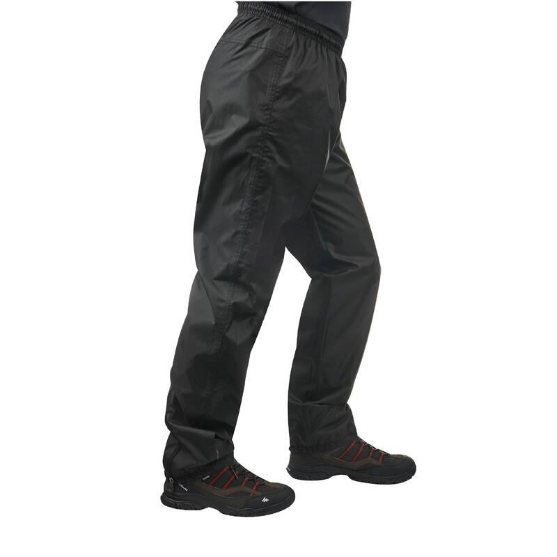 PÁNSKÉ NEPROMOKAVÉ BUNDY NA NENÁROČNOU TURISTIKU Turistika - Svrchní kalhoty NH 500 černé QUECHUA - Turistické oblečení