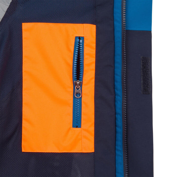 Segeljacke Sailing 300 wasserdicht winddicht Kinder petrol/dunkelblau