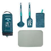Kitchen Set MH500 (spatula, ladle, tea towel, chopping board) for hiking camp