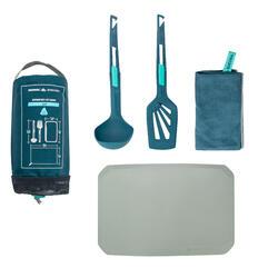 Set de cuisine MH500 (spatule, louche, torchon, planche) camp du randonneur