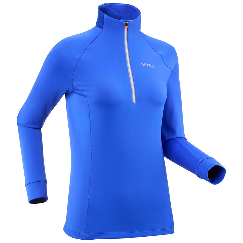 T-shirt ski de fond manches longues chaud 1/2 zip Femme XC S 100 - bleu