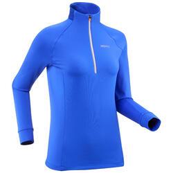Warm langlaufshirt met lange mouwen voor dames XC S TS 100 blauw