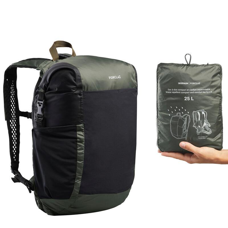 Compacte en waterdichte rugzak voor backpacken Travel 25 liter kaki