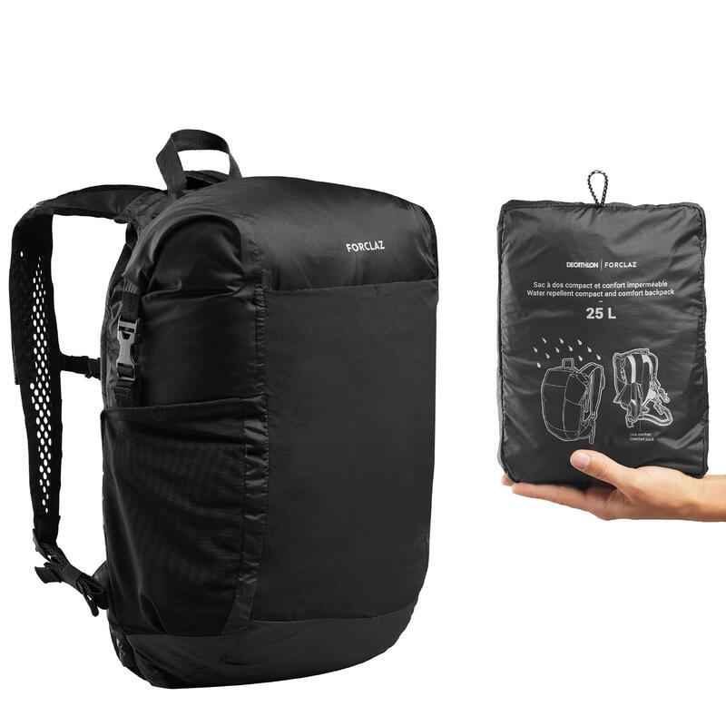 Compacte en waterdichte rugzak voor backpacken Travel 25 liter zwart