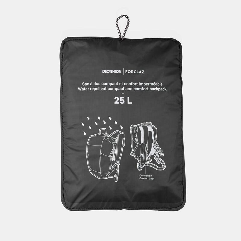 Travel Trekking Compact and Waterproof Backpack 25 L | TRAVEL Black