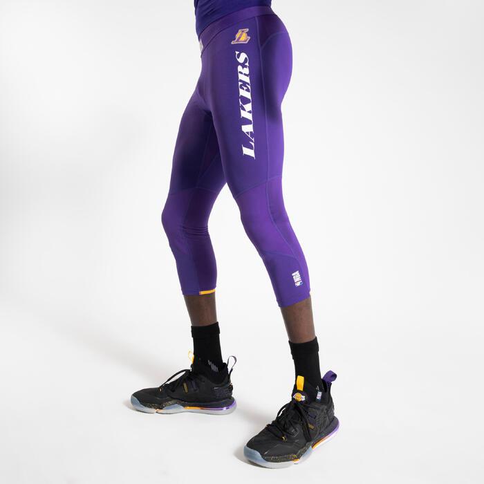 Men's Base Layer Capri Basketball Leggings - Purple/NBA Los Angeles Lakers