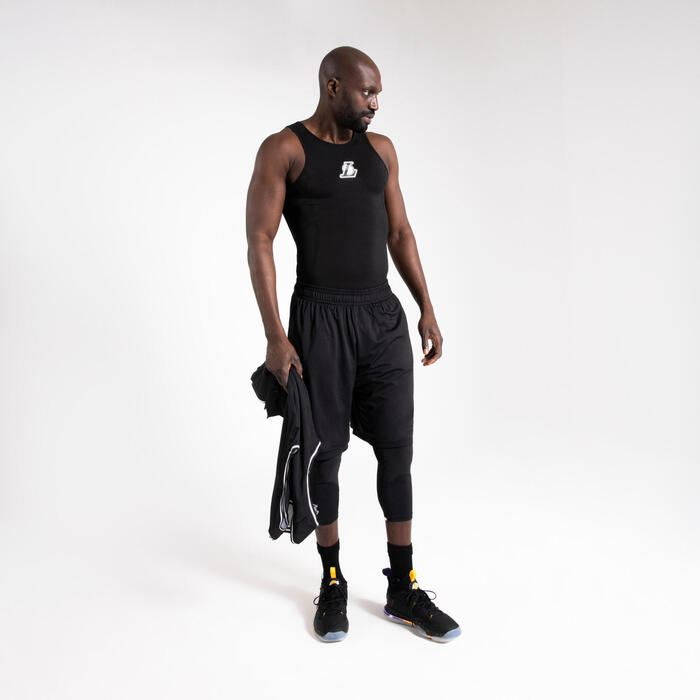 Men's Sleeveless Basketball Base Layer Jersey UT500 - Black/NBA LA Lakers