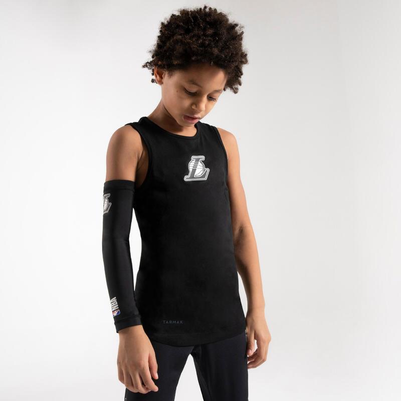 兒童款底層籃球背心UT500 - 黑色/NBA洛杉磯湖人隊