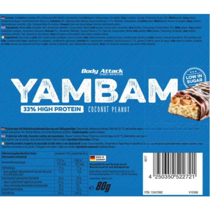 Barre protéinée Body Attack YamBam 80g Coconut Peanut