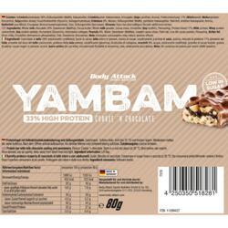 Barre protéinée Body Attack YamBam 80g Cookie Chocolat