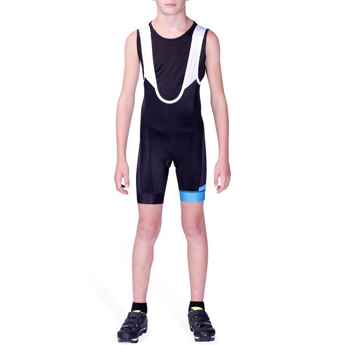 Kurze Fahrrad-Trägerhose Rennrad 700 Kinder schwarz/blau