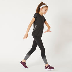 T-shirt respirant S580 fille GYM ENFANT noir, touche deblanc, body mapping