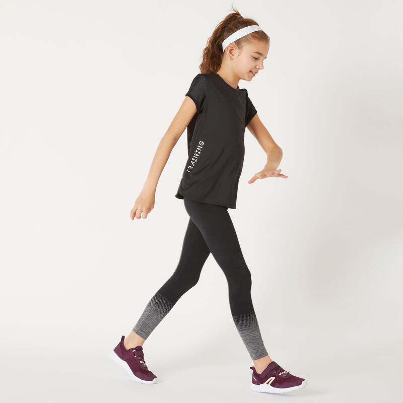 Ademend T-shirt voor gym meisjes S580 body mapping zwart/wit accent