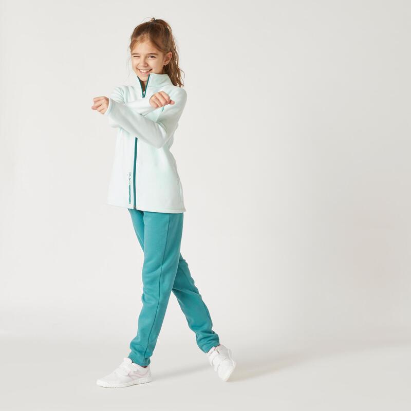 Chándal niña niño Domyos Warmy Zip transpirable gimnasia deportiva verde
