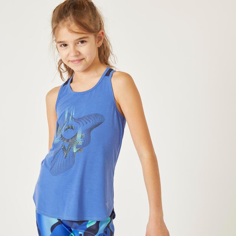 Camiseta sin mangas transpirable azul niña