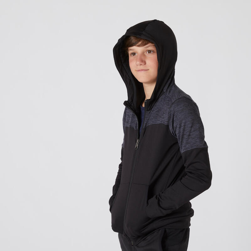 Sudadera con cremallera capucha cálida transpirable extensible negro niños