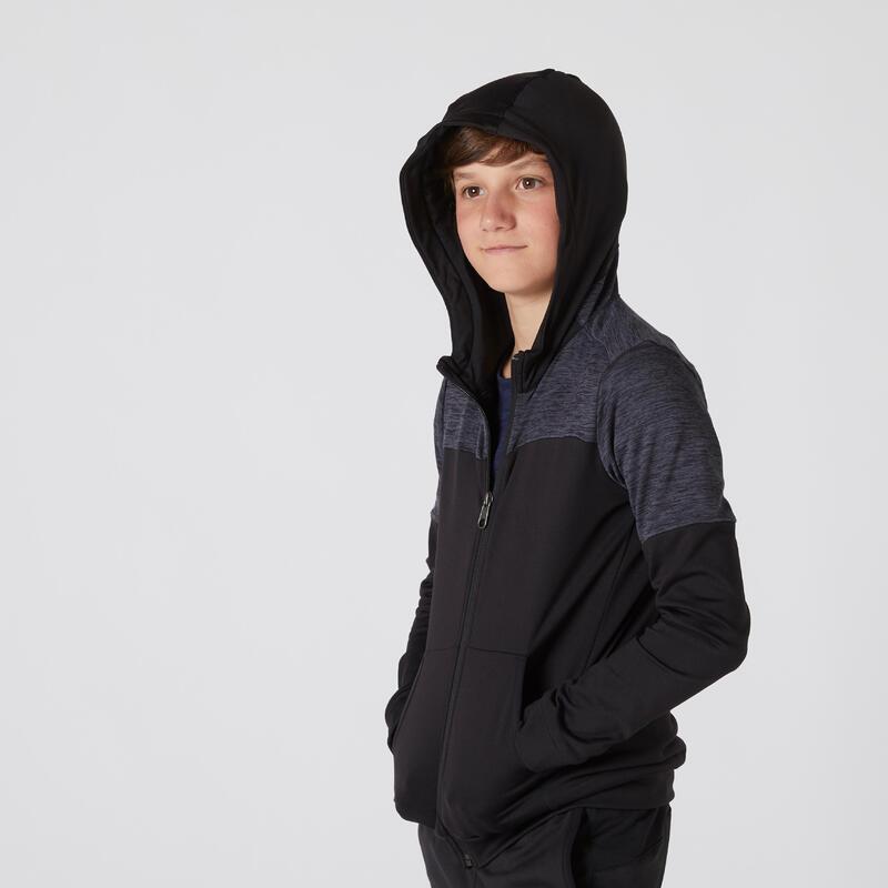 Sweat zippé à capuche respirant chaud et extensible noir enfant