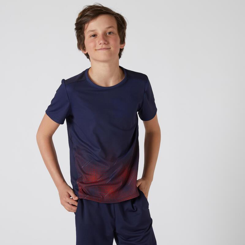 T-shirt bambino ginnastica 500 blu con stampa
