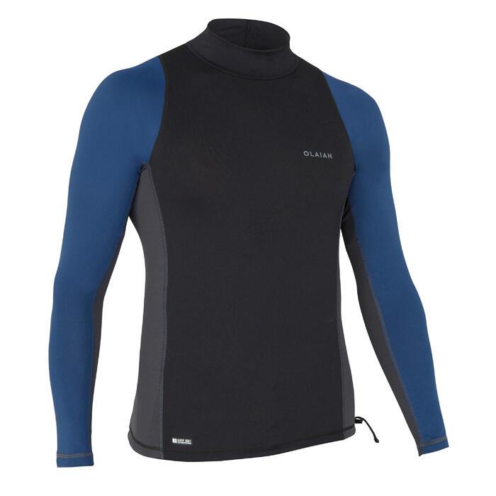 tee shirt anti uv surf top 500 manches longues homme bleu petrol