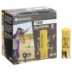 CARTUCHO PARA TIRO AOS PRATOS T900 SPORTING 28 g CALIBRE 20/70 CHUMBO N° 8 X25