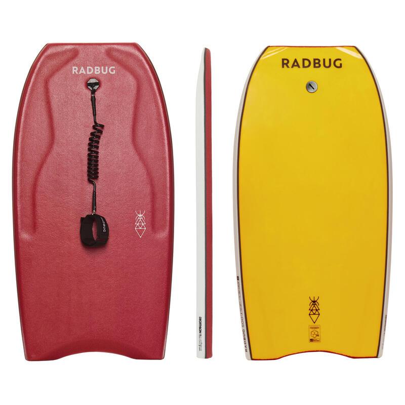 Bodyboard 500 Ltd rouge / jaune avec leash biceps
