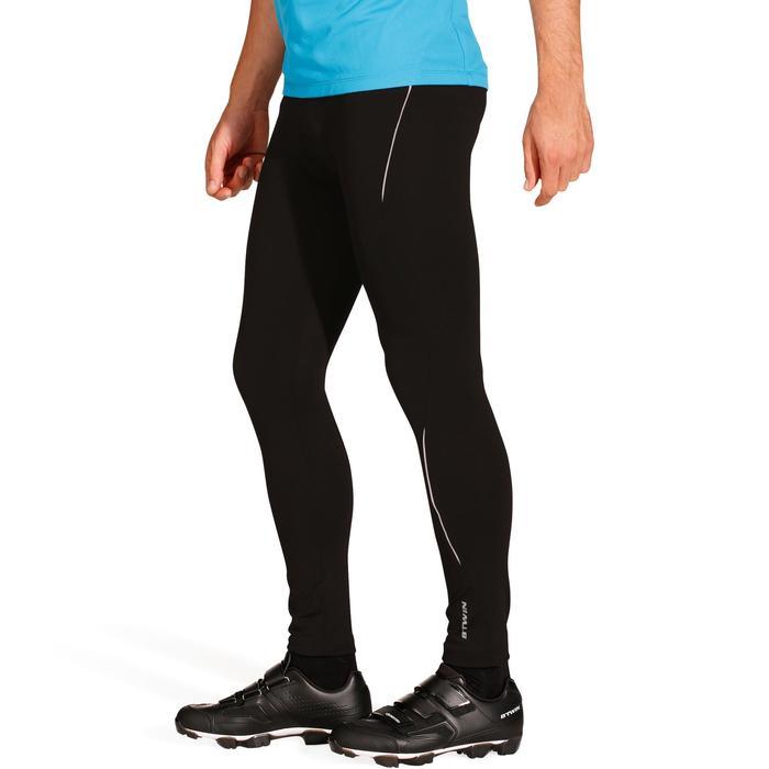 Lange winterfietsbroek zonder bretels racefietsen heren 100 zwart