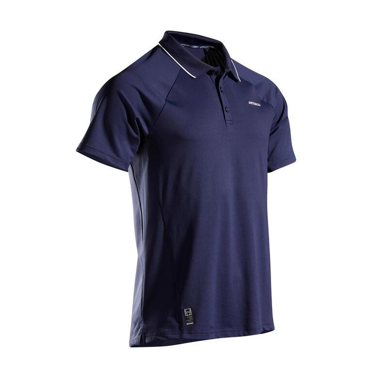 Polo de Tenis TPO 500 Artengo DRY Hombre Azul Marino Blanco