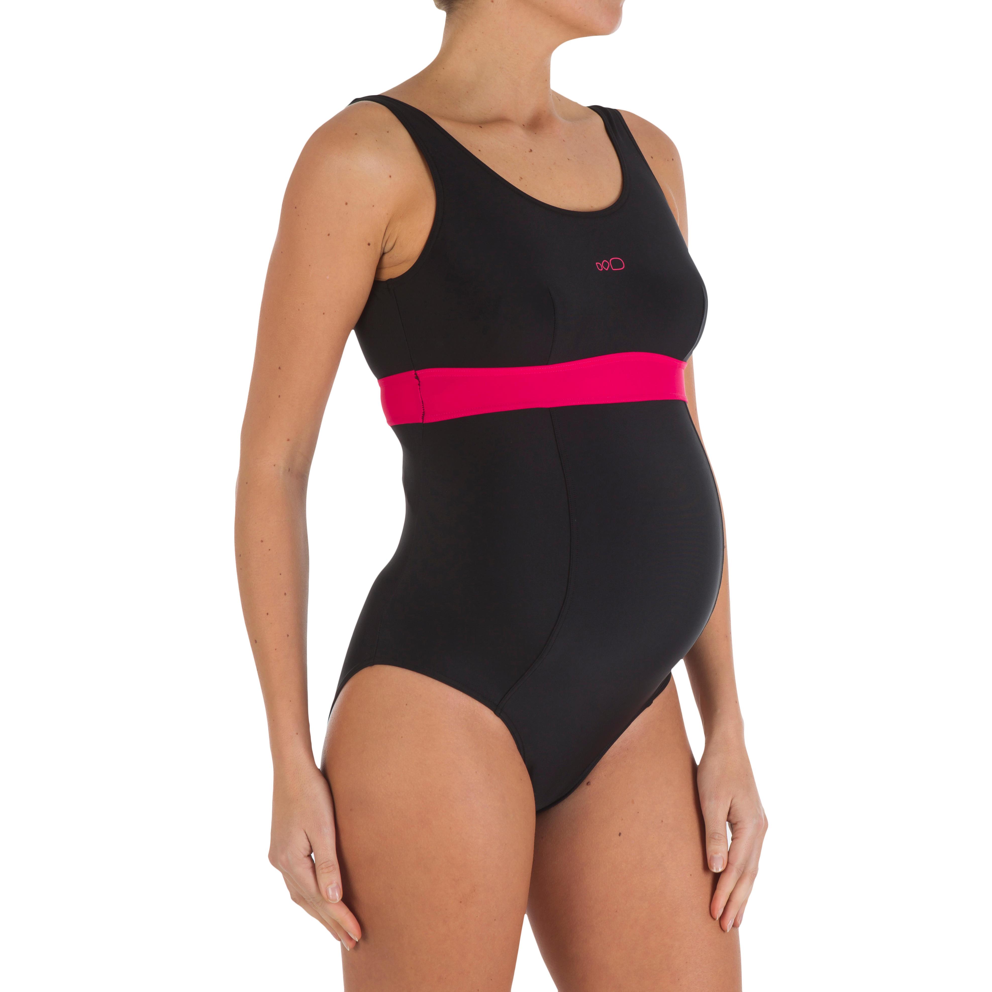 Maillot de bain de natation une pièce future maman Romane noir rose