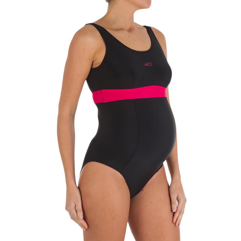 Traje de baño de natación una pieza futura mamá Romane negro rosado
