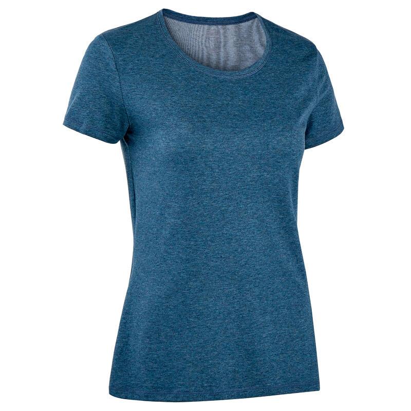 เสื้อผ้าฝ้ายเนื้อผ้ายืดหยุ่นสำหรับการออกกำลังกาย (สีน้ำเงินเข้ม Mottled)