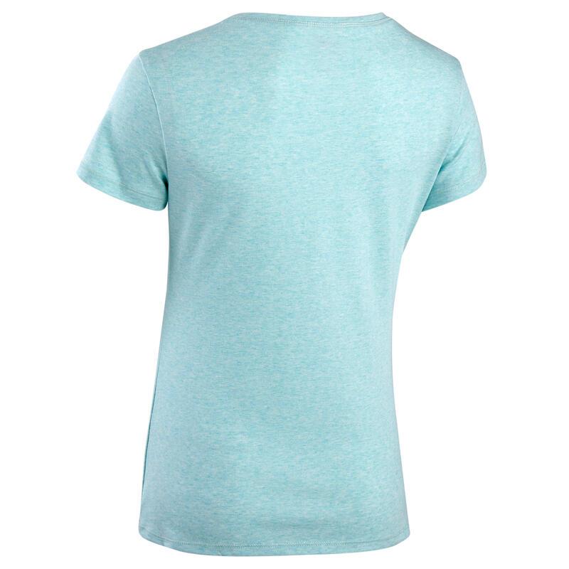 T-Shirt Coton Extensible Fitness Bleu Clair Chiné